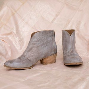 Light Gray Leather Nine West Booties